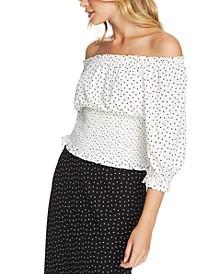 Polka-Dot Off-The-Shoulder Top
