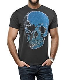 Men's Faded Skull Graphic Printed Rhinestone Studded T-Shirt