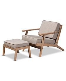 Sigrid Mid-Century Modern Armchair and Ottoman Set