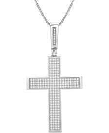 "Men's Diamond Cross 22"" Pendant Necklace (2 ct. t.w.)in Sterling Silver"