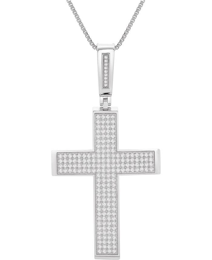 """Macy's - Men's Diamond Cross 22"""" Pendant Necklace (2 ct. t.w.)in Sterling Silver"""