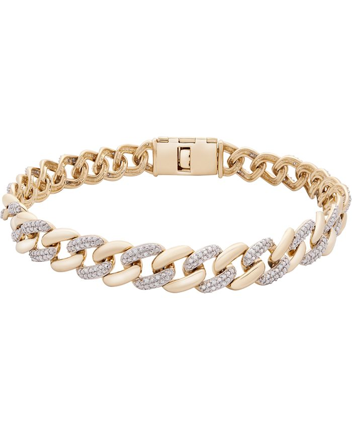 Macy's - Men's Diamond Link Chain Bracelet (1/2 ct. t.w.) in 10k Gold