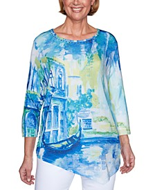 Petite Look On The Bright Side Scenic-Print Top