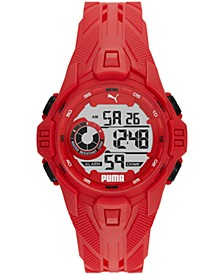 Men's Bold Red Silicone Strap Watch 45mm