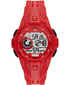Puma Men's Bold Red Silicone Strap Watch 45mm