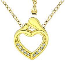 "Cubic Zirconia ""Mother & Child"" Heart Pendant Necklace in 18k Gold-Plated Sterling Silver, 16"" + 2"" extender, Created for Macy's"
