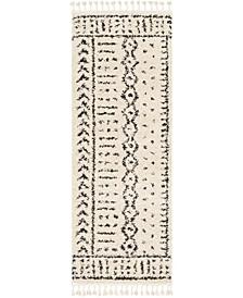 "Berber Shag BBE-2311 Charcoal 2'7"" x 7'3"" Runner Area Rug"