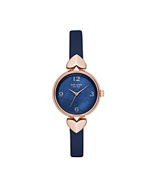 Hollis Navy Leather Watch, 33MM