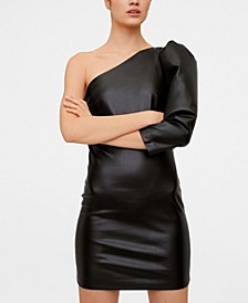 Faux Leather Asymmetric Dress