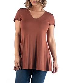Women's Plus Size Short Sleeve V-neck Tunic T-shirt