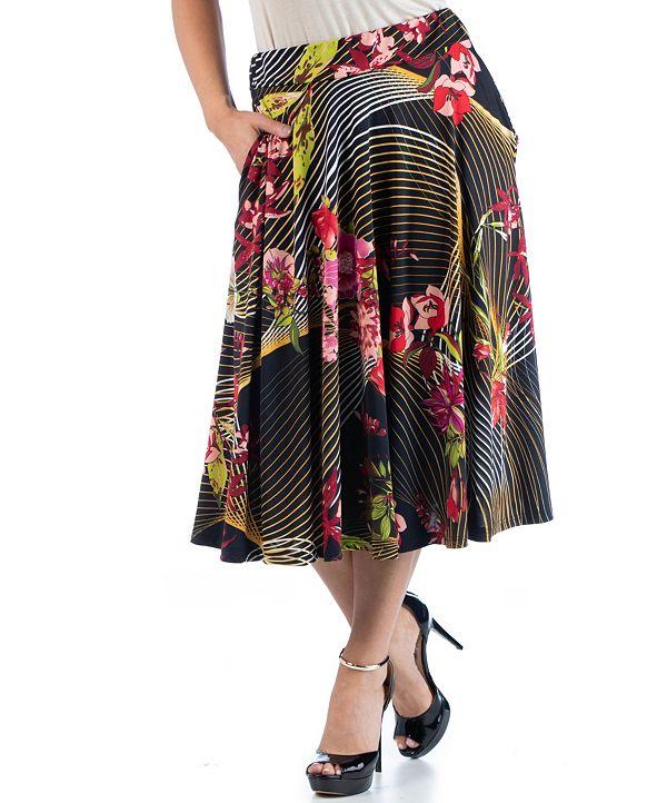 24seven Comfort Apparel Women's Plus Size Floral Midi Skirt