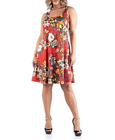 Women's Plus Size Floral Sleeveless Dress