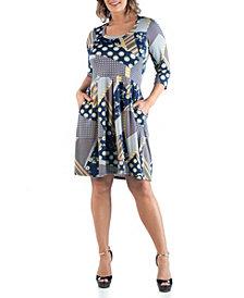 24seven Comfort Apparel Women's Plus Size Patchwork Dress