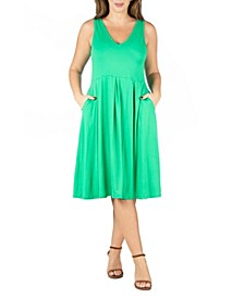 Women's Plus Size Sleeveless Midi Fit and Flare Pocket Dress