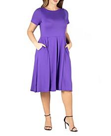 Women's Plus Size Short Sleeve Midi Skater Dress