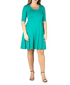 Women's Plus Size Fit and Flare Elbow Sleeves Dress