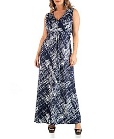 Women's Plus Size Brush Texture Print Maxi Dress