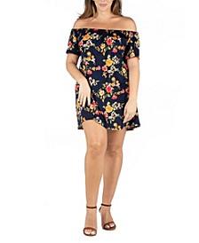 Women's Plus Size Floral Off Shoulder Summer Dress