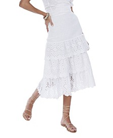 Women's Tiered Eyelet Skirt
