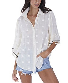Women's Embroidered Blouse with Fringe Trim