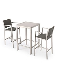 Cape Coral Outdoor 3 Piece Bar Set with Glass Table Top