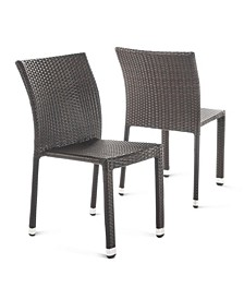 Dover Outdoor Armless Stack Chairs with Frame, Set of 2