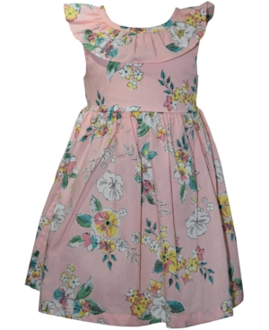 Blueberi Boulevard Baby Girls Blush Watercolor Floral-Print Dress