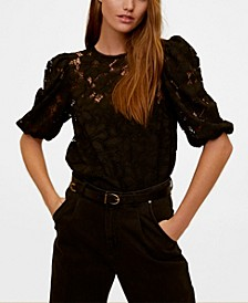 Puffed Sleeves Lace Blouse