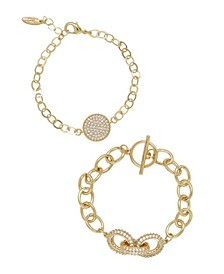 Mixed Crystal Disc Link Chain Women's Bracelet Set