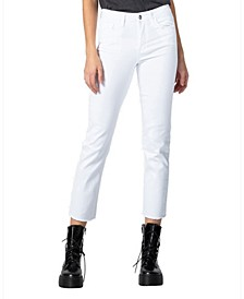 Mid Rise Raw Hem Slim Straight Jeans