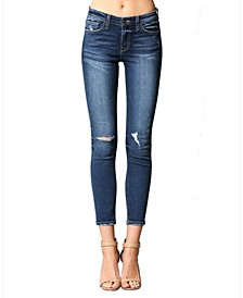 Mid Rise Side Knee Tacking Skinny Ankle Jeans