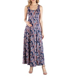 Sleeveless Multicolor Paisley Maternity Maxi Dress