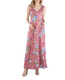 Sleeveless Floral Maternity Maxi Dress