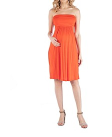 Bandeau Top Empire Waist Short Maternity Dress