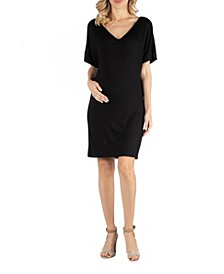 Loose Fit T-Shirt Maternity Dress with V Neck