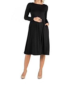 Midi Length Fit and Flare Pocket Maternity Dress