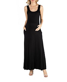 Scoop Neck Sleeveless Maternity Maxi Dress with Pockets