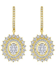 Diamond Halo Cluster Drop Earrings (3/4 ct. t.w.) in 14k Gold & White Gold