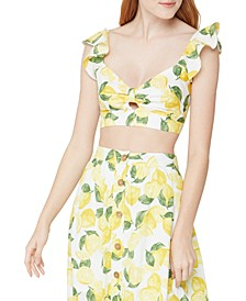 Lemonade-Print Cropped Bralette Top