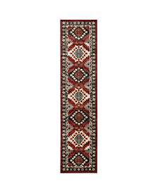 "Romeo ROM01 Red 1'10"" x 7'6"" Runner Rug"