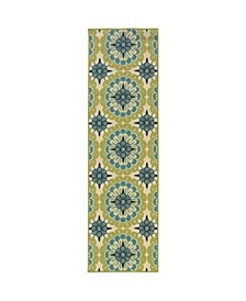 "Bella BEL10 Green 2'3"" x 7'6"" Runner Rug"