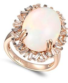 Baguette Frenzy™ Neopolitan Opal (7-1/2 ct. t.w.) & Diamond (1/2 ct t.w.) Ring in 14k Rose Gold