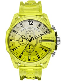 Men's Chronograph MegaChief Transparent Yellow Polyurethane Strap Watch 51mm