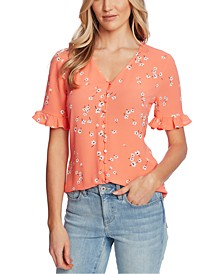 Cascading Florets Ruffled Sleeve Top