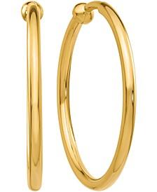 Skinny Hoop Clip-On Earrings in 14k Gold