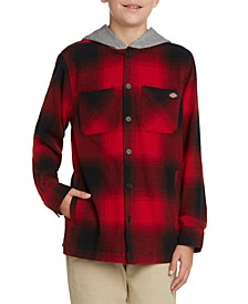 Big Boys Hooded Flannel Plaid Shacket with Jersey Hood Jacket