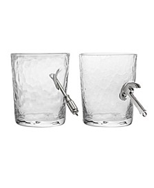 Handyman Screwdriver and Hammer Double Old Fashioned Set of 2 Glasses