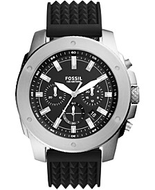 Men's Chronograph Mega Machine Black Silicone Strap Watch 50mm