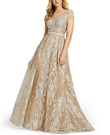 Cap-Sleeve Embroidered Ball Gown