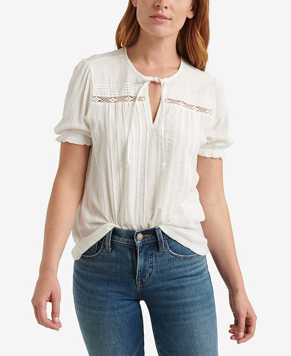 Lucky Brand Cotton Pintucked Top